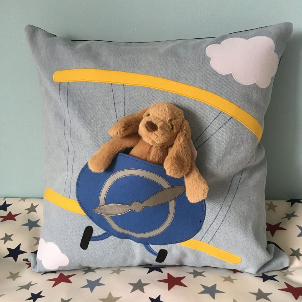 Aeroplane in the Clouds Soft Toy Cushion